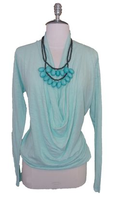 T Refinery Mint Drape Front Tee $84  Spring Beaded Necklace $46