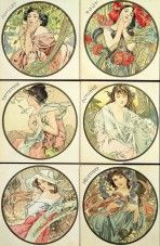 6 circular pictures with female figures set against seasonal landscapes that represent each of the months between July and December