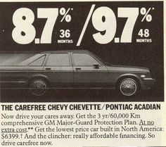 Chevy Chevette/ Pontiac Acadian.  Look at those interest rates!
