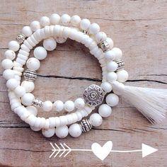beachcomber by beachcombershop on Etsy white bohemian bracelet stack tassel bracelet beach boho style