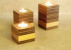 Sostenedor de vela de madera contrachapado y por CitiNightLights                                                                                                                                                                                 Más