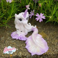 Whisper Fillies Amalthea The Last Unicorn Mermaid MerFilly inspired horse pony figurine. Handmade from Polymer Clay Visit my etsy page whisperfillies.etsy.com for more little Filly cuteness.