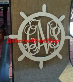 Ships Wheel Monogram 36 inch Wooden Wall Monogram by ACharmedNest, $75.00
