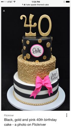 40th Cake Birthday Cakes 30th Parties Celebration Black And