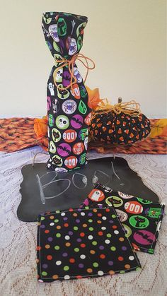 Wine Gift Bags and Coasters 2 Set Halloween FREE SHIPPING