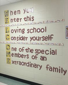"""In this display at educator school, """"W"""" is for warmth, walls and welcoming students. School Hallway Decorations, School Entrance, School Hallways, School Murals, Hallway Ideas, Corridor Ideas, Elementary Bulletin Boards, Elementary Schools, French Bulletin Boards"""