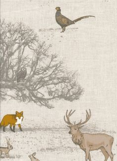 Woodland Animals in Autumnal Colours Baby Fabric, Woodland Animals, Autumnal, Soft Furnishings, Moose Art, Settees, The Incredibles, Colours, Dog Beds
