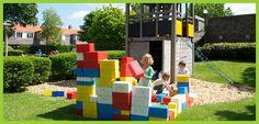 Losse blokken, lekker bouwen simpele oplossing voor het vermaken van kinderen op een festival