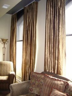 Gold silk drapery panels are perfectly gorgeous. Silk Drapes, Drapery Panels, Drapes Curtains, Custom Drapes, Gold Silk, House Windows, Great Rooms, Master Bedroom, Interior Design