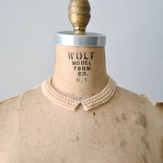 50s beaded collar / 1950s dress collar / pearl by DearGolden