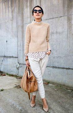 Tendência tricot inverno usado com camisa por baixo. Confira dicas no Moda que…