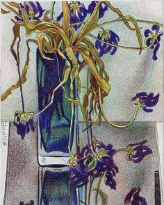 Svetlana Tursunova Artist Sketchbook, Modern Art Paintings, Online Art Gallery, Art Inspo, Flower Art, Still Life, Cool Art, Illustration Art, Drawings