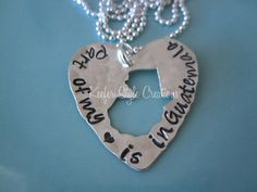 "Guatemala hand-stamped necklace by KeeferStyleCreations on Etsy.com ""Part of my ♡ Is in Guatemala"" Adoption necklace! Can you personalized with any saying! LOVE THIS!!"