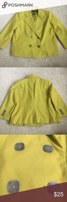 Lime green quarter sleeve double breasted blazer Dry clean only. In great condition. Extra buttons on the inside. No flaws. New York & Company Jackets & Coats Blazers