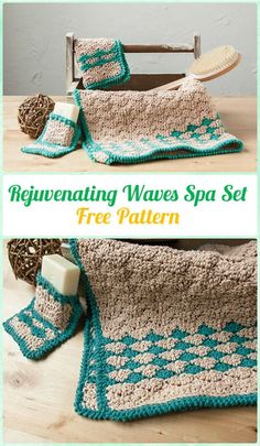Crochet Rejuvenating Waves Spa Set Free Pattern - Crochet Spa Gift Ideas Free Patterns