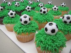 Soccer cupcakes Mcknelly Mcknelly Wheeler remember when you wanted to make soccer cake pops? Ordered similar ones for Jays JV Blue team dinner x Soccer Cake Pops, Football Cupcake Cakes, Soccer Birthday Cakes, Football Cupcakes, Football Birthday, Soccer Party, Birthday Cupcakes, Soccer Ball Cake, Soccer Theme