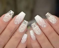 33 Fancy White Coffin Nails Designs Enchanting Mandala Nail Design ★ Discover trendy and cute white coffin nails designs with accent, glitter, rhinestones. Find an idea for your long, short nails. White Lace Nails, White Coffin Nails, Lace Nail Art, Simple Wedding Nails, Wedding Nails Design, Lace Nail Design, Bridal Nail Design, Lace Wedding Nails, Vintage Wedding Nails
