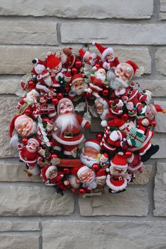 Vintage Christmas Santa Wreath Hand Crafted Hand by cybersenora