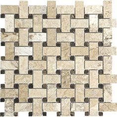 �12-in x 12-in Pablo Travertine Natural Stone Mosaic Basketweave Wall Tile (Actuals 12-in x 12-in)