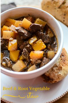 Beef and Root Vegetable Stew highlights the bounty of winter produce in a rich and warming one-dish meal that's perfect for a cold winter's night. Healthy Soup Recipes, Beef Recipes, Dog Food Recipes, Great Recipes, Root Vegetable Stew, Root Vegetables, Quick Meals, Freezer Meals, Homemade Dog Food