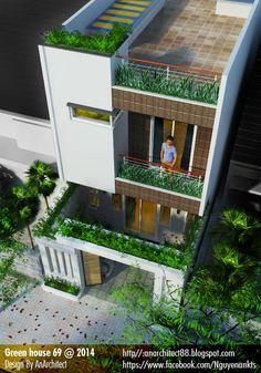 Minimal House Design, Unique House Design, House Front Design, Small House Exteriors, Modern Exterior House Designs, 3 Storey House Design, Bungalow House Design, Modern Bungalow, Narrow House Designs