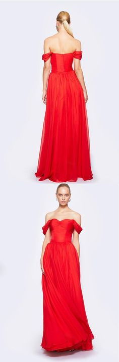 simple red straps long pleated chiffon prom dress