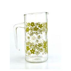 Vintage Pyrex Crazy Daisy/Spring Blossom ~1 Quart Glass Pitcher #glass #pyrex #pitcher #crazydaisy #springblossom #green #white #vintage
