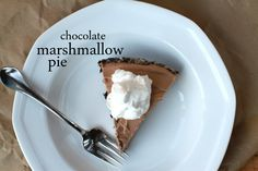 Choc. Marshmallow pie.  No bake and easy.  Who doesnt have choc. chips and marshallows in their pantry?