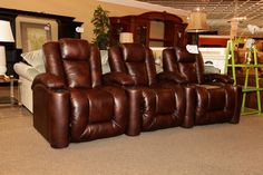 Brown Leather Theatre Seating - Colleen's Classic Consignment, Las Vegas www.colleenconsign.com
