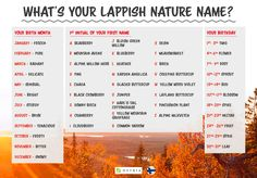 What is your Lappish nature name? Nature Names, Birth Month, First Names, It's Your Birthday, Check It Out, Wilderness, Flora, Herbs, Pure Products