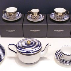 Richard Brendon's striped saucers in a collaboration with Patternity.