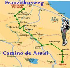 Pilgerweg nach Assisi - Franziskusweg italien Karte