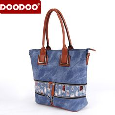 DOODOO European and American Style Ladies Handbag Fashion Cowboy Floral Ladies Hadbag High Quality PU Ladies Satchels Bag