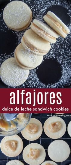 Alfajores (dulce de leche sandwich cookies) - Crumbly, tender cookies sandwiched together with dulce de leche - alfajores are the kind of cookies that almost anyone will be tempted by. Welcome to your next cookie plate must-have. These tasty treats are easy to make and great for gifting, too. #cookie #dulcedeleche Great Desserts, Low Carb Desserts, Delicious Desserts, Dessert Recipes, Yummy Food, Bar Recipes, Recipies, Healthy Recipes, Best Cookie Recipes