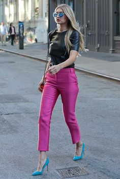 gigi-hadid-pink-pants-leather-top-street-style