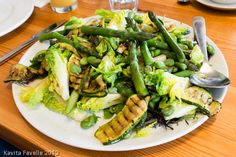 Chargrilled courgettes, asparagus, broad bean and little gem salad - at Riverford Organic Field Kitchen (@kaveyeats)