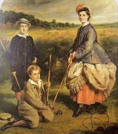William Crawford Arsa (Scottish paintre, 1825-69). Eliza Anne Lochart (Nana), William Frederick (Bill) and John Henry Middleton playing croquet in a garden before a cornfield
