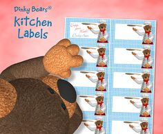 Funny Dinky Bears Pizza Kitchen Labels - Digital Download by DinkyPrints