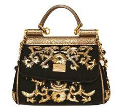 Dolce & Gabbana Black Mini Miss Sicily Embroidered Velvet Bag Dolce And Gabbana Purses, Prada, Gucci, Louis Vuitton, Embroidered Bag, Brown Purses, Shopper Bag, Handbag Accessories, Clutches