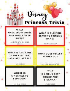 Disney Princess Trivia Quiz- FREE PRINTABLE