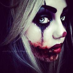 bloody female joker clown makeup for 2014 Halloween - black eyes, stars eyeshadow  #2014 #Halloween