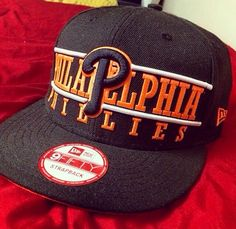 ba8e2cc06a1 Another one of my hats. Philadelphia Phillies strapback hat in neon orange  and black Strapback