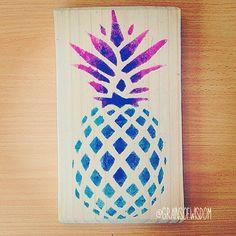 Pineapple wood stencil print by GrainsOfWisdom on Etsy