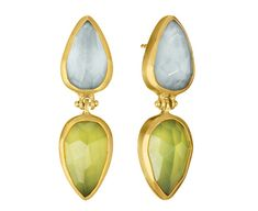 Symmetry: 18Kt Gold Earrings with hand-cut Aquamarine and Peridot