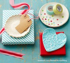 Roll out oven-bake clay, then add textural details with a variety of objects to create a pretty little dish. (Designer: Lisa Storms) For instructions, purchase your digital issue here: http://www.zinio.com/www/browse/issue.jsp?skuId=416279179&prnt=&offer=&categoryId=
