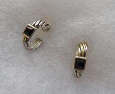 $5.00 Silvertone & Black Open Back Earrings (82915-1399MS) jewelry, collectibles #Unbranded #Hoop