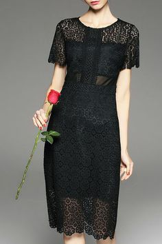 Black Lace Hollow Out Round Neck Dress
