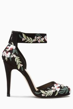 Buy Black Embroidered Round Toe Court Shoes from the Next UK online shop