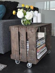 Salon- bijzettafel / tv kast (evt met grijsgroen krijtverf of wit)