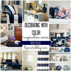 Decorating with color inspiration series: Navy Blue at lizmarieblog.com - lots of inspiration on how to bring navy blue into your home and what colors to pair it with. Also some great navy blue paint color recommendations!